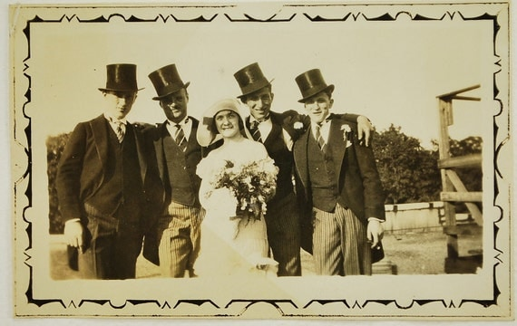 RESERVED for Erin....Do Not Purchase, The Bride and Her Men, 1930, Candid Snapshot, Vintage Photo, Photography, Photo Image