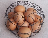 All Your Eggs in One Basket Vintage Round Wire Egg Basket