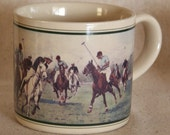 Giddy Up Polo Ponies Polo Scene Set of 2 Vintage Mugs Japan 1988