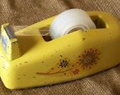 Atomic Yellow Flower Power Vintage Scotch Tape Dispenser