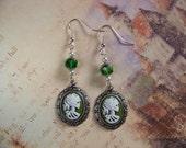 Green Lady Death Cameo Earrings