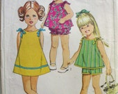 Vintage Child's Dress or Top, Shorts and Bloomers Pattern - Simplicity 5995 - Size 2, Breast 21