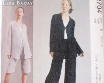 SALE - Lida Baday Sewing Pattern - Misses/Misses Petite Unlined Jacket and Pants - McCall's 2704 - Sizes 8-10-12, Bust 31 1/2 - 34, Uncut