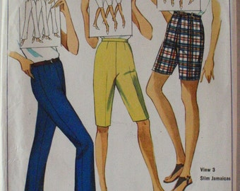 SALE - Misses Shorts and Bell Bottom Pants in Proportioned Sizes - Simplicity 6450 - Waist 24, Hip 33
