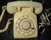 Vintage White Rotary Dial Phone Working