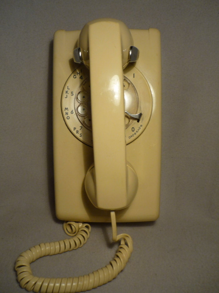 Vintage Tan Rotary Dial Wall Phone Untested ON SALE