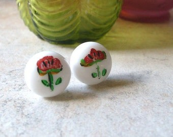 Glass Earring Posts - Hand Painted Red Ceramic Flowers on Copper Studs OOAK
