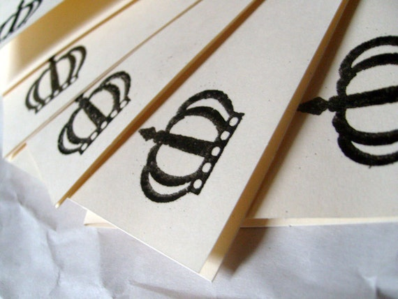 Blank Cards - Hand Embossed - The Black Crown Set of 5 - Blank Greeting Cards