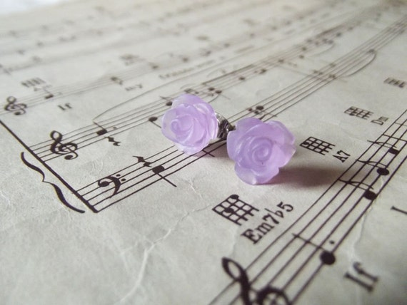 Rose Earring Posts - Frosted Wisteria Purple Flowers