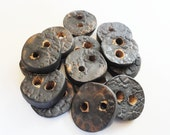 CYBER MONDAY SALE Handmade Stoneware Ceramic Buttons Steampunk Round Metallic Rustic Textured Charcoal Grey Slate