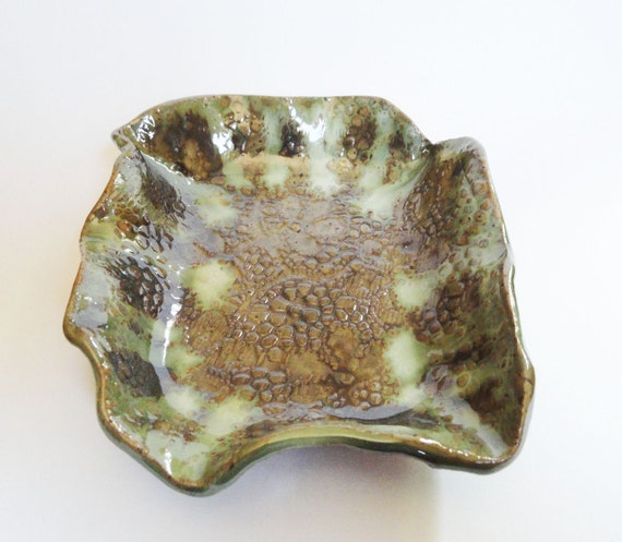 Handmade Ceramic Serving Dish Plate Tray Platter Rustic Modern Pottery Stoneware Rustic Lace Texture Green READY TO SHIP