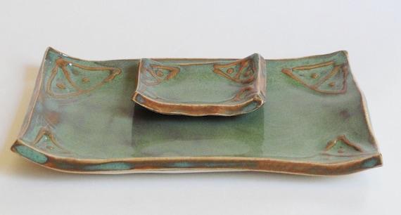 Lucky7Sale Handbuilt Handmade Ceramic Pottery Sushi Dish Tray Set Tapas Appetizer Plate Stoneware Signed Sage Green
