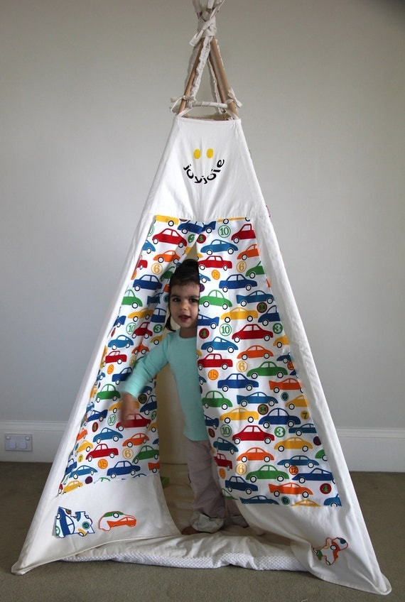 Play teepee with Transport theme wall art, planes, trains, cars, trucks, tip trucks