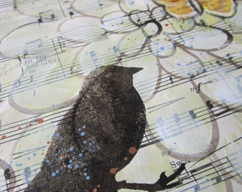 In The Shadow Of His Wings... recycled book art original painting on Antique 1940s sheet music book page