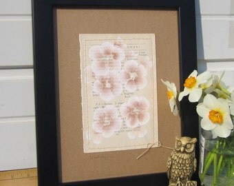 Sunday... recycled book art, a novel idea, blossoms painted on an Antique Book Page stitched to cardstock