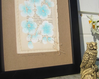 SALE. Lady Theodosia's Pets... recycled book art, a novel idea, Bahama Blue blossoms painted on an Antique Book Page stitched to cardstock