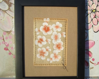Shakespeare... recycled book art, Blossoms painted on an 1930s Encyclopedia book page Stitched to cardstock