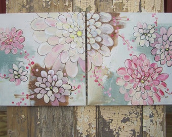 Kimono Flowers in Peony Pink... 2 original paintings 18x18 each, 18x36 together