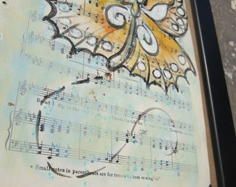 "Butterfly... recycled book art original painting on Antique 1930s sheet music book page titled ""The Vagabond"", by Cat Seyler designs"
