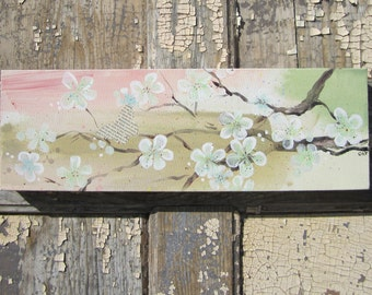 Butterfly, Blossoms and Branches... original painting on canvas 18 x 6