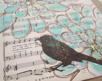 """For the Birds... recycled book art original painting on Antique 1930s sheet music book page titled """"Carmela"""", by Cat Seyler designs"""