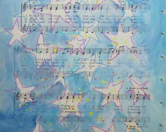 Hail Evening Bright... recycled book art original painting on Antique 1930s sheet music book page, by Cat Seyler designs