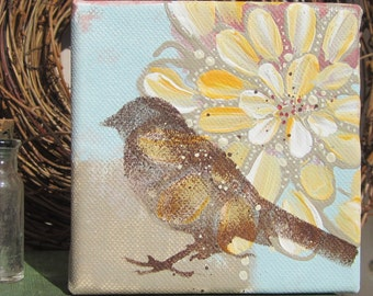 For the Birds... an original painting by Cat Seyler, 4x4 petite canvas with wide profile