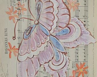 SALE. Hosannas Ring... recycled book art original painting on Antique 1950s sheet music, by Cat Seyler designs