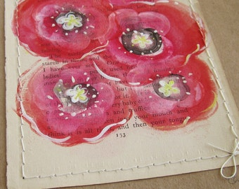 Poppy... recycled book art, a novel idea, Red blossoms painted on an Antique Book Page stitched to cardstock