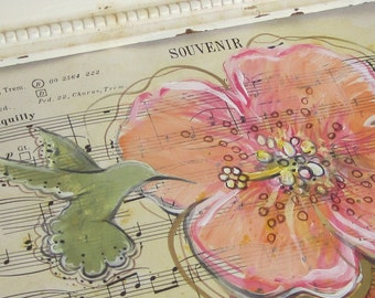 Souvenir... recycled book art original painting on Antique 1950s sheet music book page