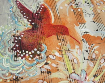 SALE. Reduce Ped. ...recycled book art original painting on Antique1950s sheet music book page, by Cat Seyler designs