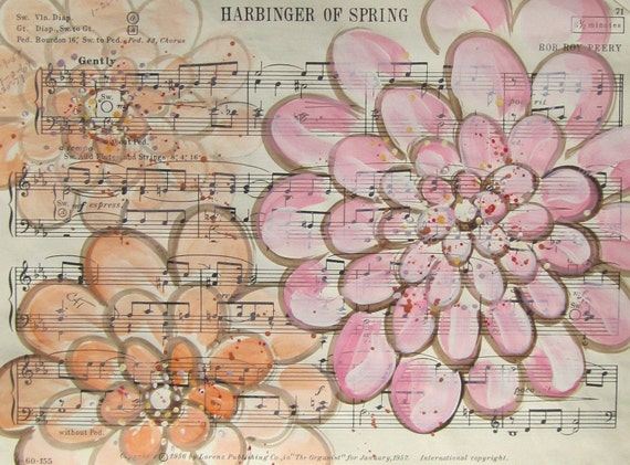 SALE. Harbinger of Spring... recycled book art original painting on Antique 1950s sheet music book page