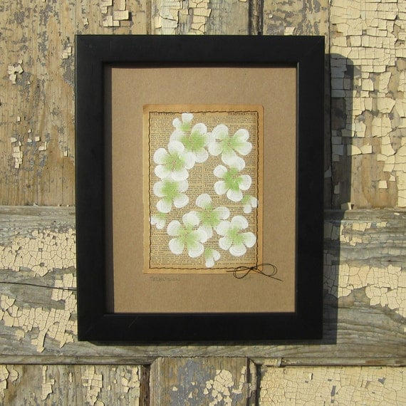 Television... recycled book art, Blossoms painted on an Antique 1930s Encyclopedia book page Stitched to cardstock