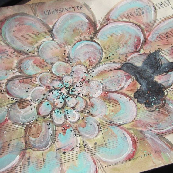 Chansonette... recycled book art original painting on Antique 1950s sheet music book page, by Cat Seyler designs