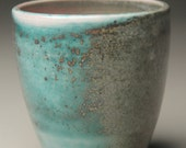 blue/green/pink soda fired teacup