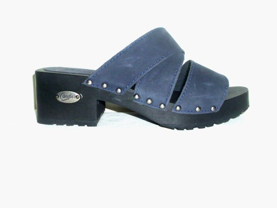 Vintage 70s 80s Candie's platform wedge clogs shoes 8.5 blue