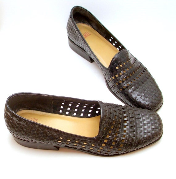 Vintage leather shoes woven braided basketweave shoes flats Glacee Brazil // midnight blue  8.5