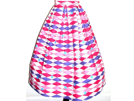 Hold for Valerie      1950s skirt // atomic mid-century geometric // circle pleated //  S/M pink purple