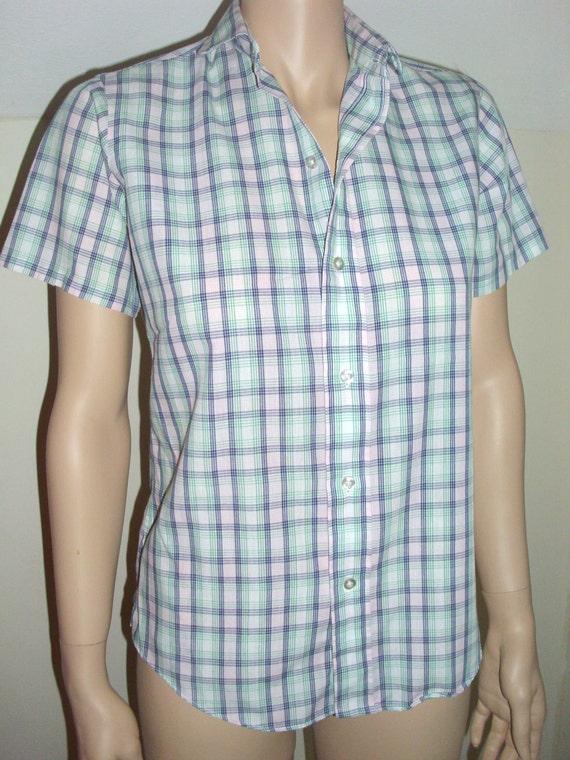 Vintage 1970's Ms. Sero pastel plaid short sleeve blouse top shirt peter pan collar spring summer small