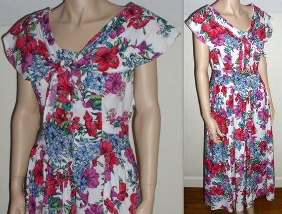 woman's shawl collar ascot tie dress drop waist  fuchsia floral tea length cotton S/M
