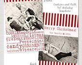 Cookies and Milk - 5x7 Vertical Postcard Christmas Holiday Card PSD Template Design INSTANT DOWNLOAD