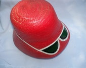 Beach Hat SunHat with Attached Sun lenses - 1960s Red Vintage