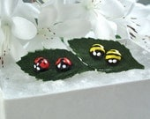 4 Lady Bug and Bumble Bee Earrings 4 Tiny Stud Posts of Tiny Cute little Earrings