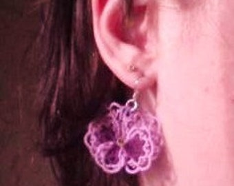 Tatted lace earrings lavender Pansies For Thoughts