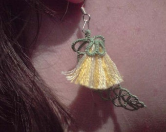"""Tatted lace leaf and flower earrings yellow and green """"Australian Gum Tree"""""""