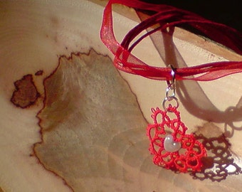 Tatted lace and beaded heart necklace I Heart U red and silver