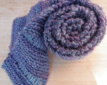 Knit Scarf in Purple and Blue