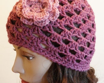Crocheted Beanie with Flower