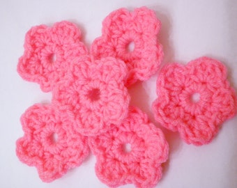Crocheted Flowers, Six Hot Pink