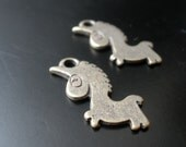 Antiqued Silver Patina Unicorn Charms- 2 Pc.